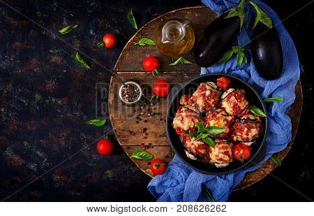 Eggplant (aubergine) Rolls With Meat In Tomato Sauce. Flat Lay. Top View