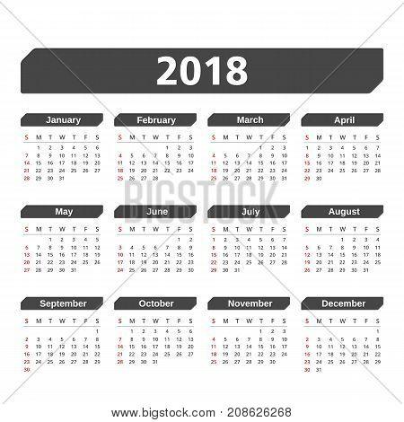 2018 Calendar, week starts on Sunday, vector eps10 illustration