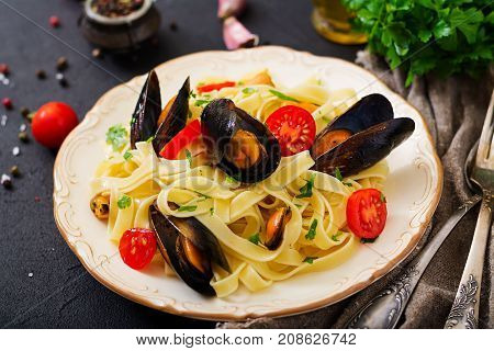 Seafood Fettuccine Pasta With Mussels. Mediterranean Delicacy Food.