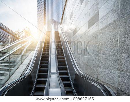 empty escalator in office block area,shanghai,china.