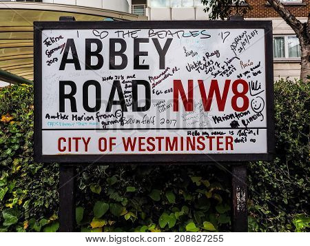 Abbey Road Sign In London, Hdr