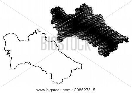 Turkmenistan map vector illustration , scribble sketch Turkomen