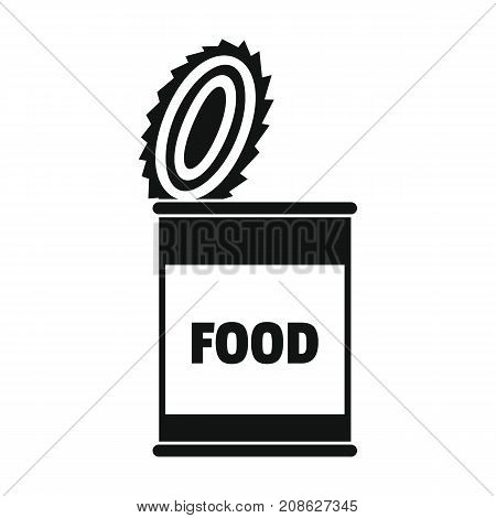 Food tin can icon. Silhouette illustration of Food tin can vector icon for web isolated on white background