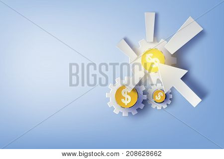 Paper art of pay per click with design business concepts gears vector