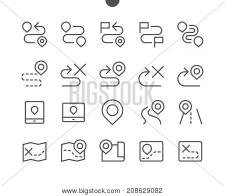Navigation UI Pixel Perfect Well-crafted Vector Thin Line Icons 48x48 Ready for 24x24 Grid for Web Graphics and Apps with Editable Stroke. Simple Minimal Pictogram Part 1-2
