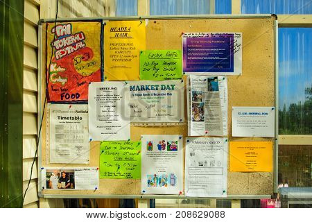 Community Bulletin Board With Various Messages In Te Kao