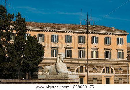 Photo of Roman sphinx in Piazza del Popolo, Rome