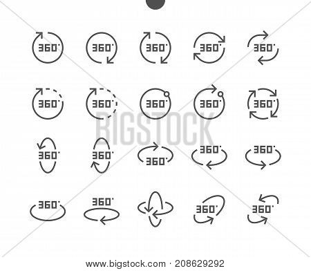 360 Degrees UI Pixel Perfect Well-crafted Vector Thin Line Icons 48x48 Ready for 24x24 Grid for with Editable Stroke. Part 1-2