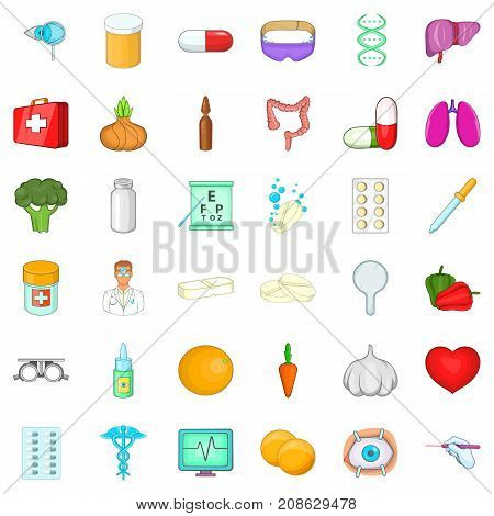 Body icons set. Cartoon style of 36 body vector icons for web isolated on white background