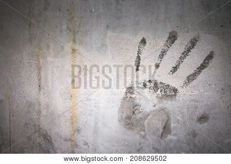 Grungy wall with hand print. Fully editable.