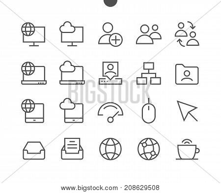 Network UI Pixel Perfect Well-crafted Vector Thin Line Icons 48x48 Ready for 24x24 Grid with Editable Stroke. Simple Minimal Pictogram Part 4-5