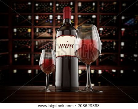 Wine bottle and glasses on winery table. 3D illustration.
