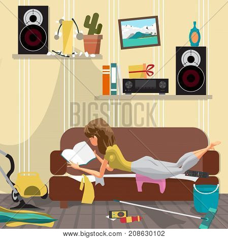 Young lazy woman is lying on the couch and reading a book. Lazy wife and mess in the room. Flat cartoon vector illustration