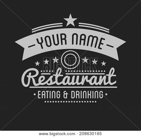 Vintage logo. Restaurant label template. Graphic design element for business: cafe, bar, pub. Vector Illustration isolated on white background.