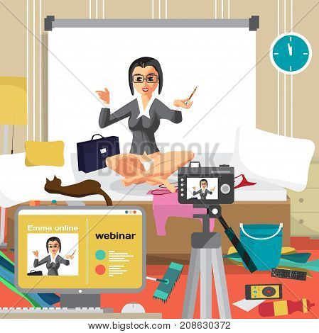 Young businesswoman is conducting a business webinar in the bedroom. A housewife girl works from home via the Internet. Flat cartoon vector illustration