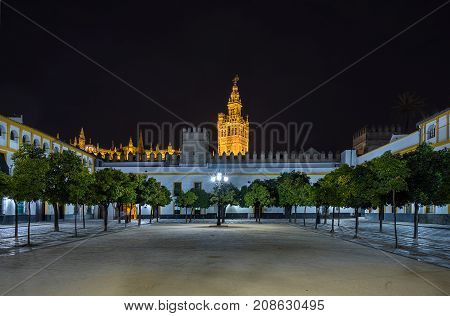 Night in Plaza de Banderas in Seville Spain