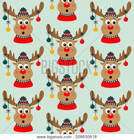 Seamless Christmas pattern with a deer. The new year 2018. Vector illustration