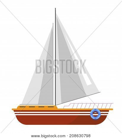 Yacht sailboat or sailing ship boat with sails and life buoy. Vector icon of sea marine cruise boat or ocean travel vessel and seafarer frigate for yachting club or tourism