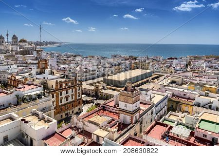 Looking across the rooftops of Cadiz in south west Spain