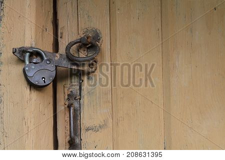 Antique door lock wooden door old object