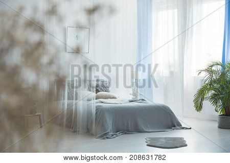King-size Bed With Grey Blanket