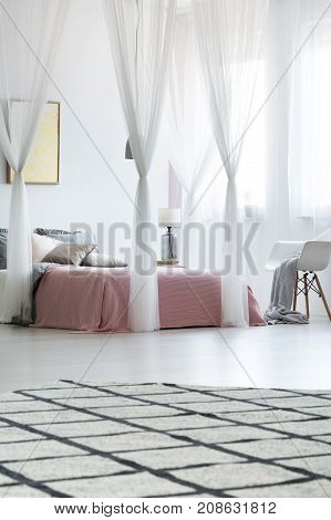 Spacious Bedroom With Canopy Bed