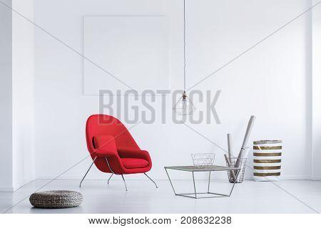 Wicker Footrest On The Floor