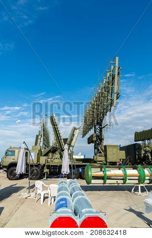 Moscow, Russia - July 24. 2017. Self-propelled radar systems at the International Aviation and Space salon MAKS-2015