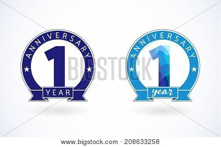 1 year old stained-glass blue colored logotypes. Anniversary 1 st number. Shining celebrating congratulating concept