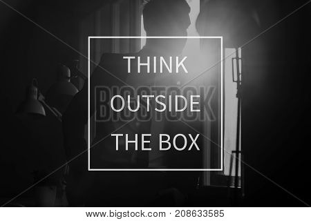 Text Think Outside The Box Over Conceptual Business Scene