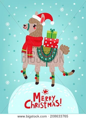 Christmas card. Llama with gifts. Happy New Year and Merry Christmas!