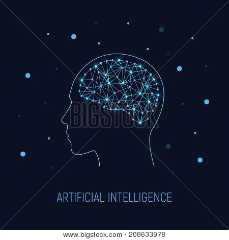Artificial intelligence concept. Cybernetic brain in electronic cyberspace. Science, technology background. Vector illustration.