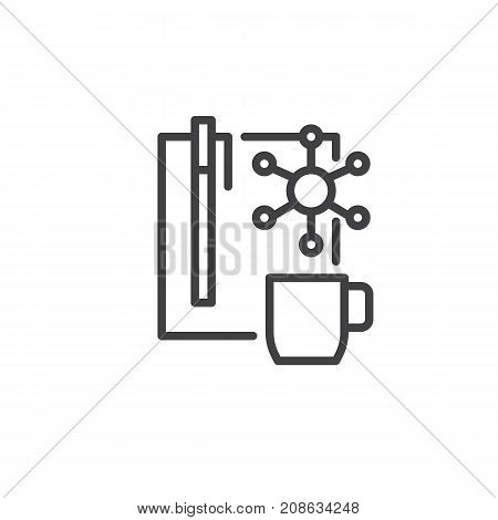 Planning list and cup of coffee line icon, outline vector sign, linear style pictogram isolated on white. Symbol, logo illustration. Editable stroke