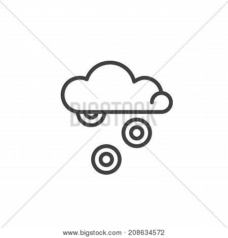 Money rain falling from cloud line icon, outline vector sign, linear style pictogram isolated on white. Symbol, logo illustration. Editable stroke