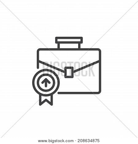 Business briefcase line icon, outline vector sign, linear style pictogram isolated on white. Portfolio symbol, logo illustration. Editable stroke