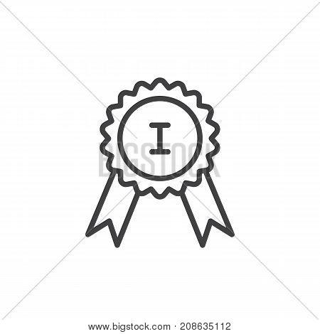 Premium award line icon, outline vector sign, linear style pictogram isolated on white. Success badge symbol, logo illustration. Editable stroke