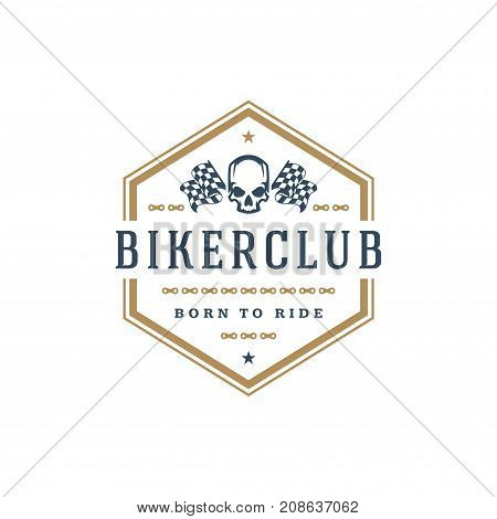 Biker club logo template vector design element vintage style for label or badge retro illustration. Scull silhouette.