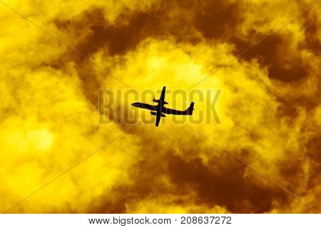 Aircraft Passenger Take Off  Shot At Sunset Time