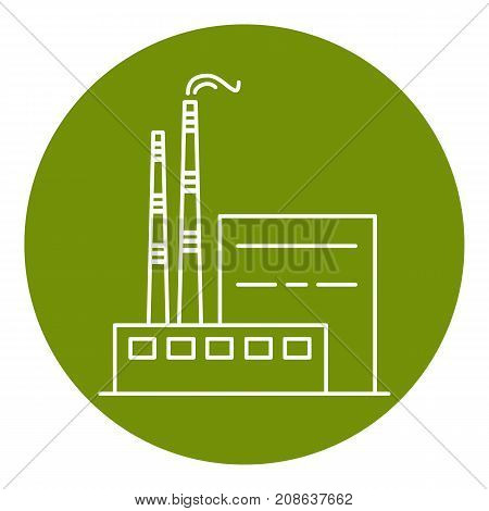 Coal power plant in thin line style. Non-renewable energy industrial concept. Fossil fuel energy symbol in round frame.