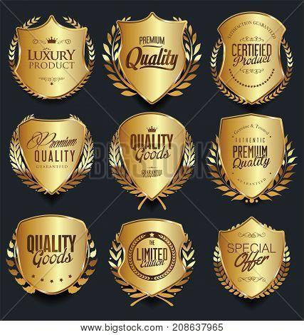 Golden Shields And Laurel Wreaths Retro Design Collection.eps