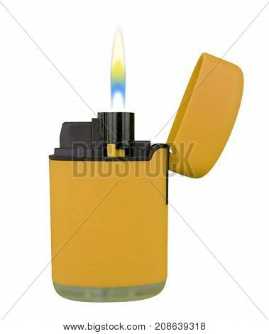 Plastic Gas Lighter With Flame - Yellow