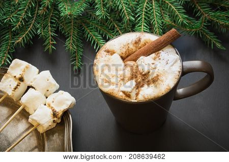 Christmas Traditional Drink. Hot Chocolate With Marshmallows And Cinnamon On The Black Background Wi