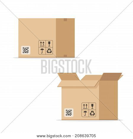 Open and closed cardboard box. Concept of warehouse and delivery. Vector illustration isolated on white background