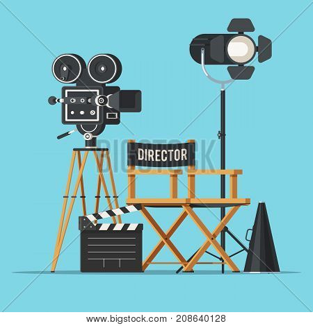 Movie camera with film reels, director chair, searchlight, megaphone and clapperboard. Vintage cinema concept. Vector illustration in trendy flat style design isolated on white background