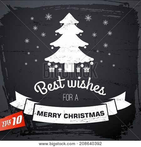 Merry Christmas background with congratulation fir tree and ribbon in retro style vector illustration