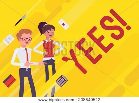 Yees. Business motivation poster. Office model on inspiration and leadership, mentoring and personal development plans. Vector flat style cartoon illustration on yellow background