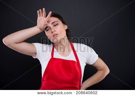 Tired Woman With Headache At Job
