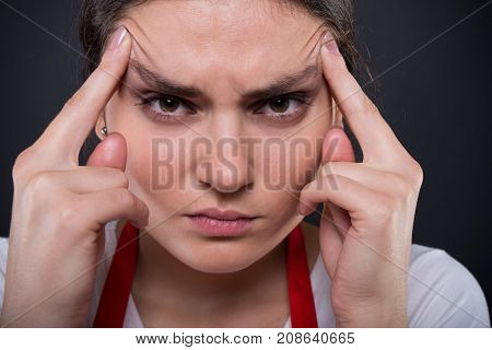 Stressed Young Employee In Close-up View