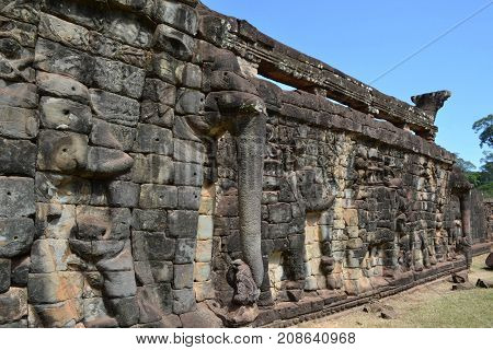 The Elephant Relief On The Wall Around Angkor Wat Complex In Siem Reap, Cambodia