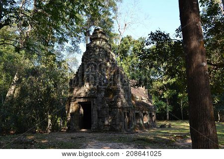 A Hut-like Temple Around Angkor Wat Complex In Siem Reap, Cambodia